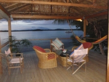 View from Large Deluxe Bungalow over lagoon
